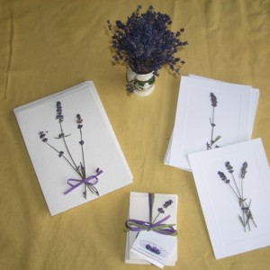 Our hand-pressed lavender stationary makes a lovely gift.