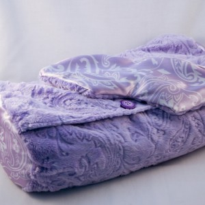 Lavender and Buckwheat-filled roll pillow with lavender and flax sleep mask