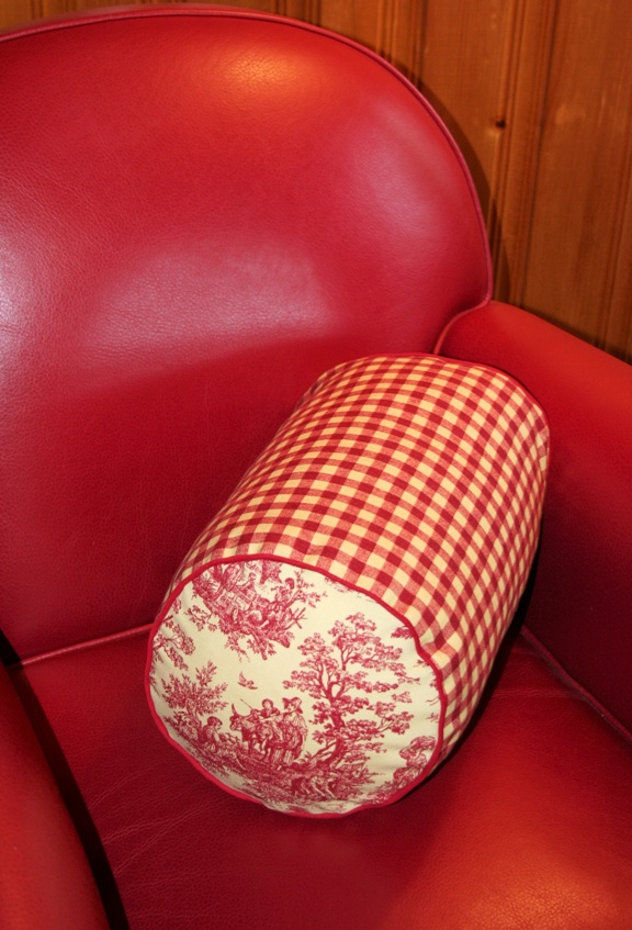 lavender and kapokfilled bolster pillow red and white checkered pattern