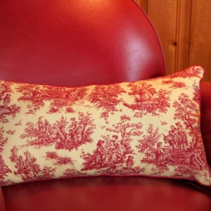 Lavender and kapok-filled rectangular accent pillow - red toile