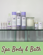 Renew your spirit and nourish your skin with organic Lavender essential oil bath and body care products.