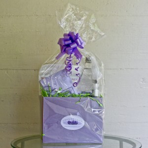 Lavender Green Gift Basket with Lavender Cleaning Supplies