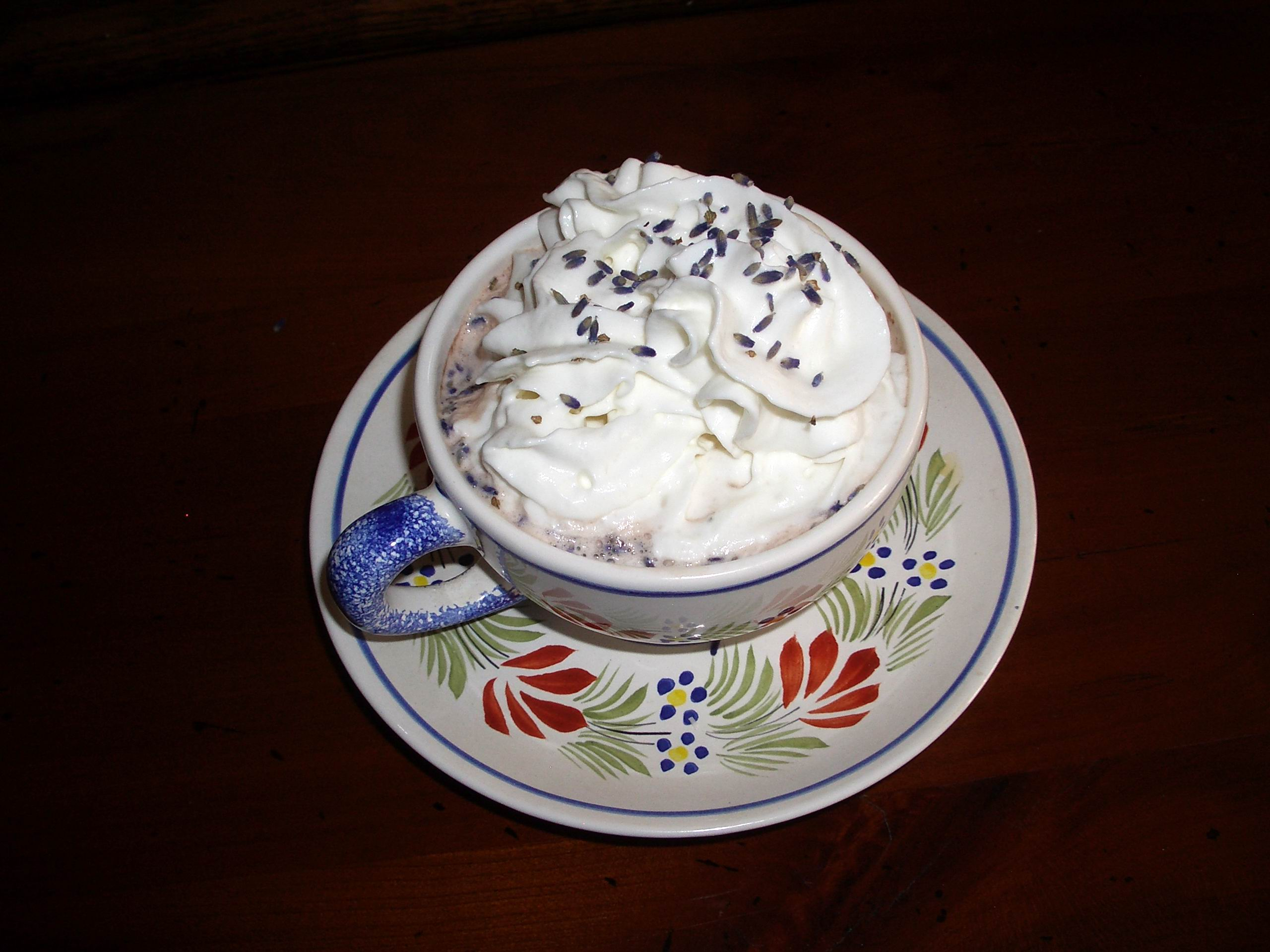 Cup of hot chocolate with Lavender